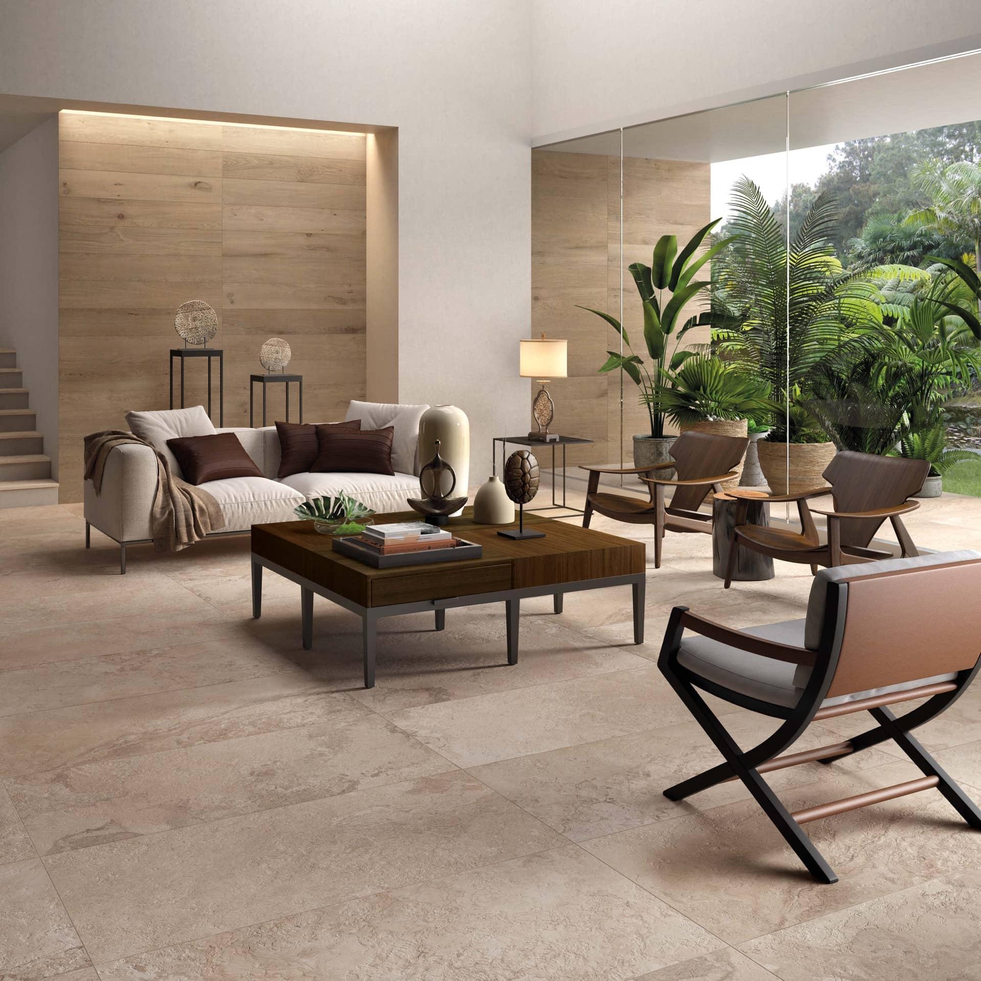 Alpes raw Sand rett. 60x120 + Crossroad Wood Tan rett. 20x120