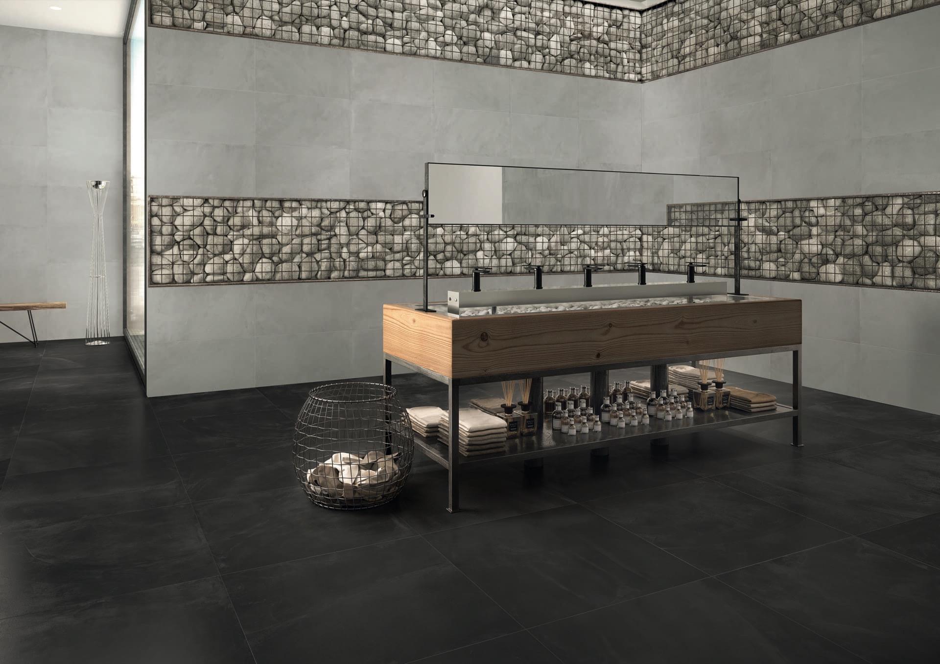 ArchitectResin BruxellesBlack 80x80 e Grey 40x80 Amb. bagno ristorante