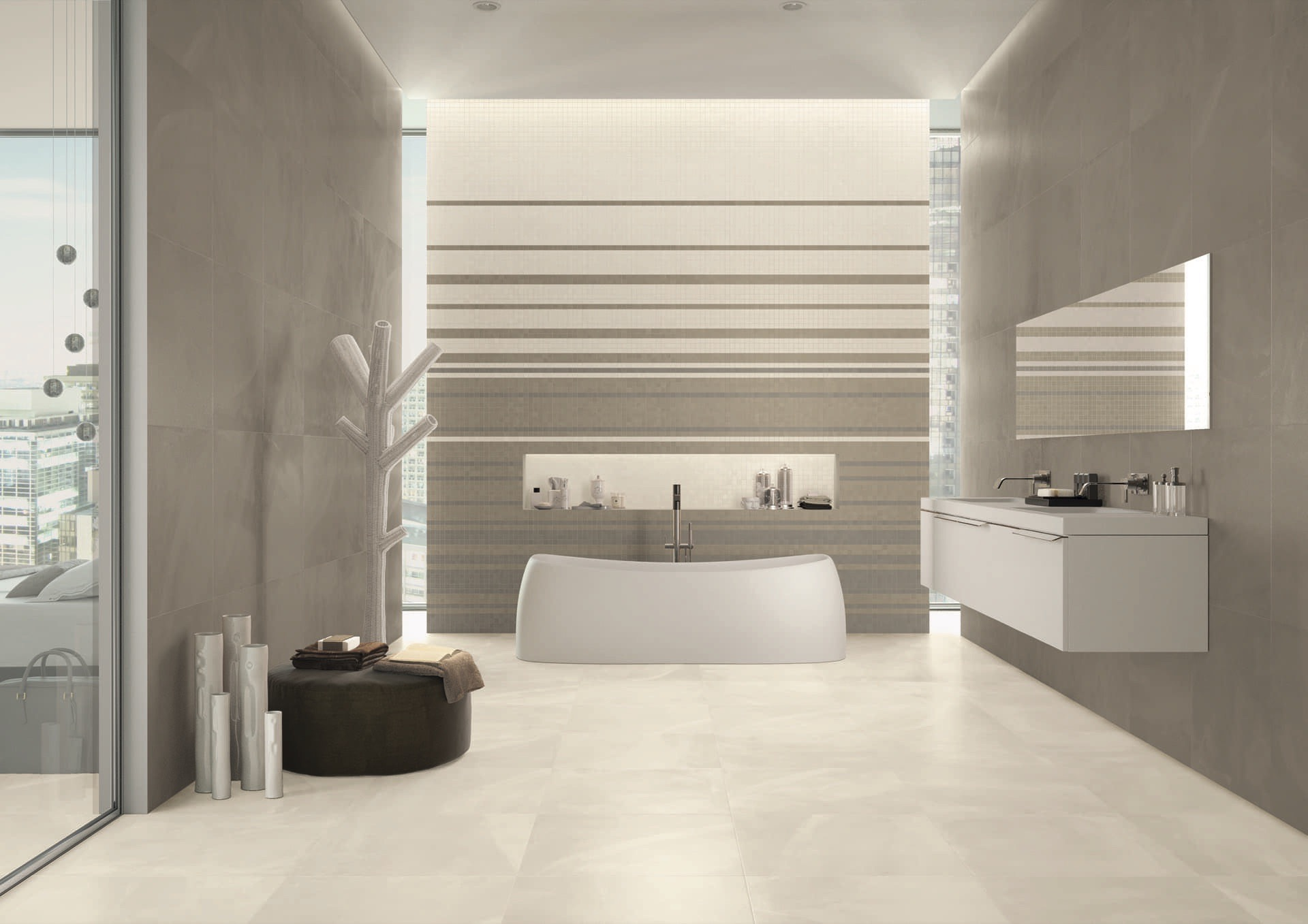 ArchitectResin CopenaghenIvory-HongKongTaupe 60x60-Mos Amb Vasca