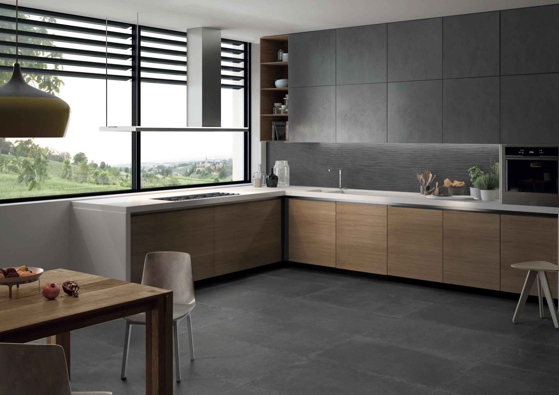 Limestone Dark Nat 30x120-30x120 Parallelo Amb Cucina