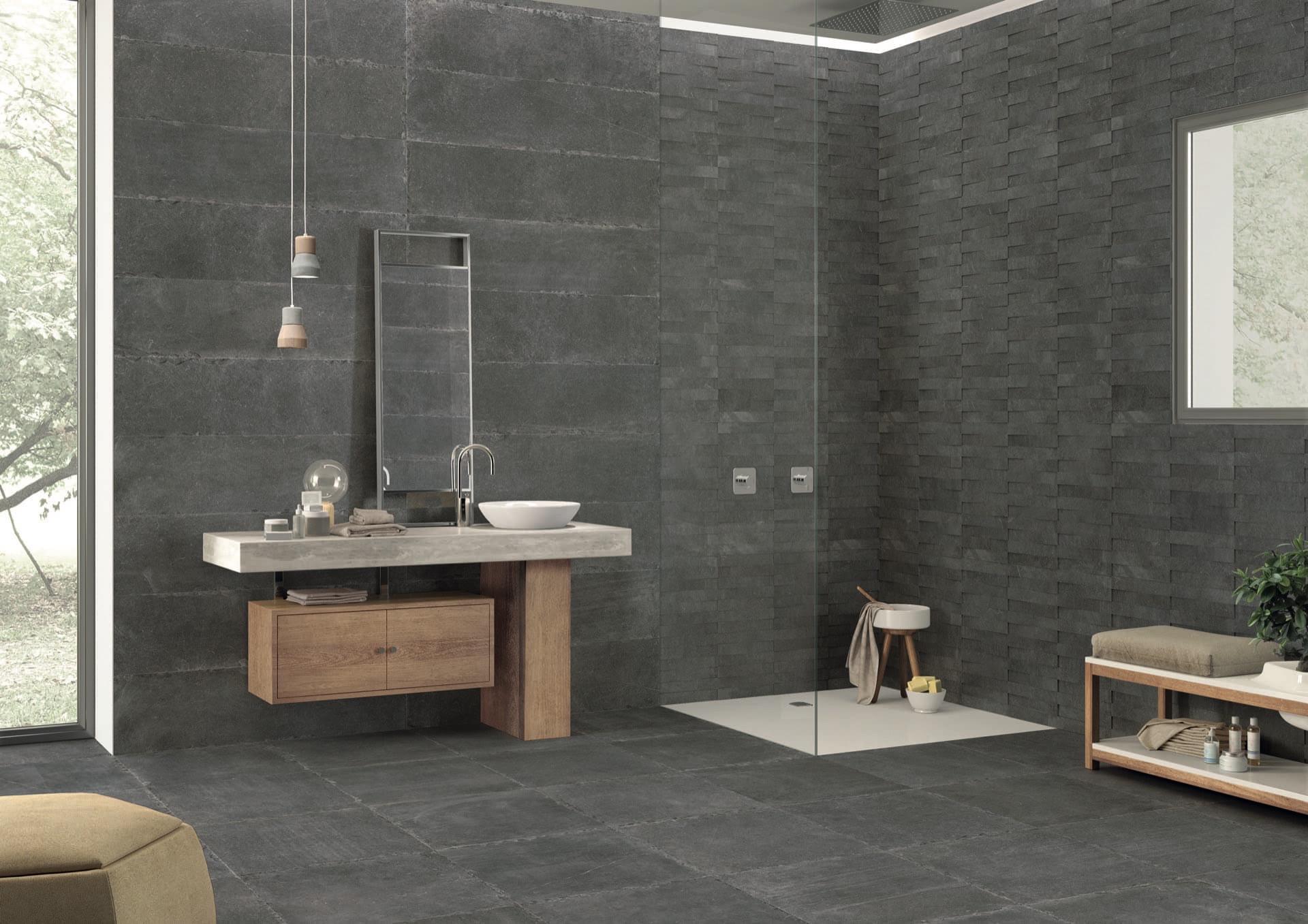 Limestone Dark Nat 60x60-30x120-Modulo Amb Bagno x Pannello