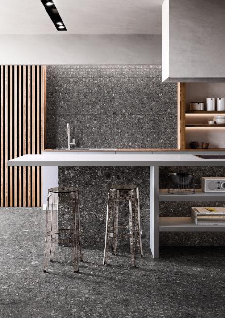 lom21Lombarda Black 60x60 30x60 Mosaico Nat Amb Cucina